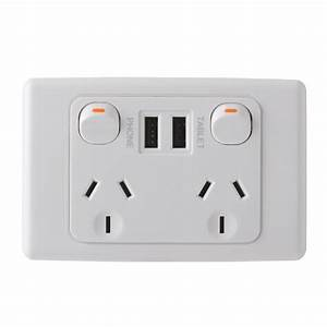 Deta 240v 10 Amp Double Outlet Powerpoint With Dual 3 4