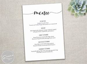 printable black menu template calligraphy style script With diy wedding menu template free