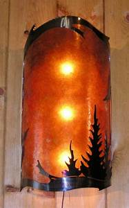 Pine Trees Mica Wall Sconce Light