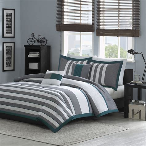 beautiful modern teal blue white grey stripe soft comforter set 2 pillows ebay - Teal And Gray Comforter Sets