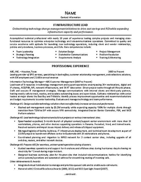 It Operations Team Leader Resume by It Supervisor Resume Exle