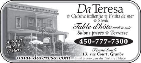 d饕oucher 騅ier cuisine restaurant da teresa 13 rue court granby qc