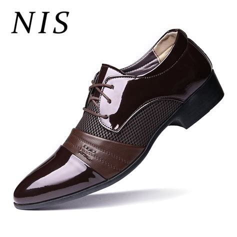 Nis Big Size Men Dress Shoes Patent Leather Fashion