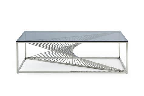Modrest Trinity Modern Glass & Stainless Steel Coffee Table