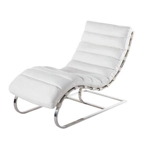 chaise en cuir blanc chaise longue cuir blanc freud maisons du monde