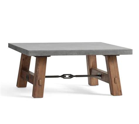 concrete top end table abbott concrete top square coffee table pottery barn