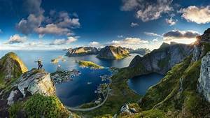 Lofoten, Norway, Island, Cityscape, Sea, Grass, Mountains, Clouds, Anime, Water, Fjord, Nature