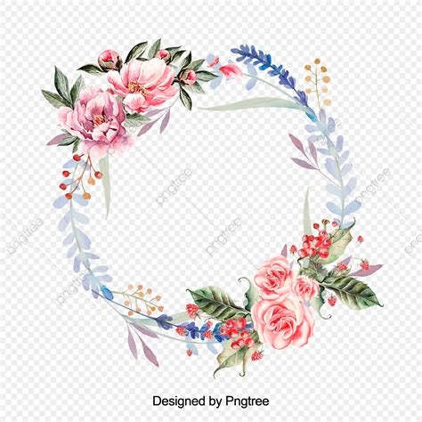beautiful hand paint watercolor floral wreath flower