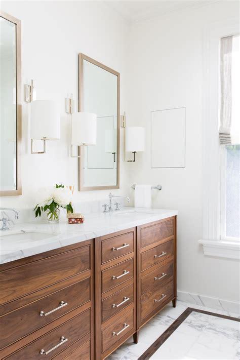 modern white double vanity bathroom  marble top wood