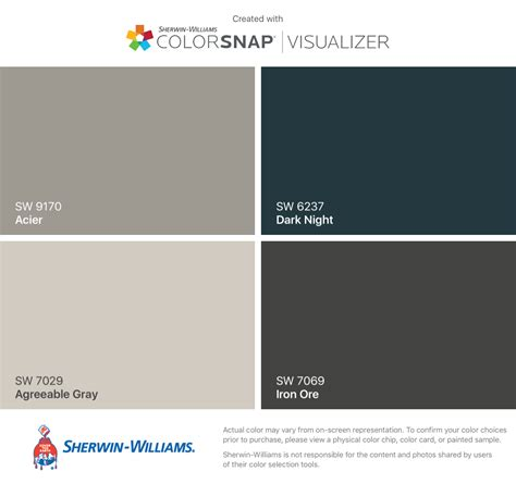 interior color scheme sherwin williams acier sw 9170