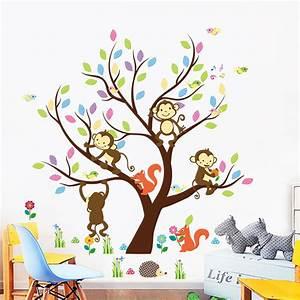 sticker arbre geant avec singes et ecureuils stickers With chambre bébé design avec comment envoyer des fleurs en angleterre