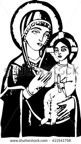Abstract Jesus Black And White by Blessed Holding Baby Jesus Stock Vector