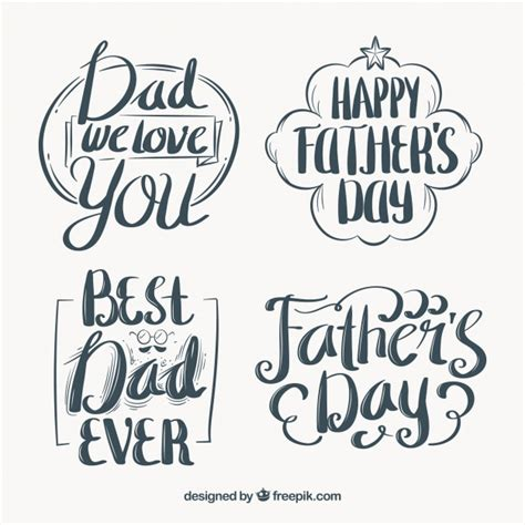 retro father s day stickers with typography vector free download
