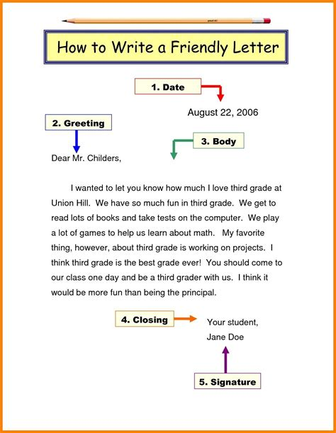 friendly letter format grade   letter writing format