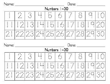 dotted numbers   writing strips   heart teaching tpt