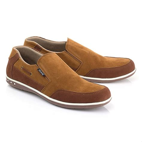 jual sepatu pria sepatu slip on sepatu casual sepatu coklat blfs668 detikashop di lapak
