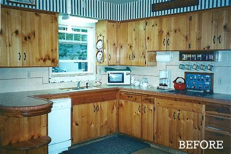 painting knotty pine cabinets giving a 1930s kitchen some old fashioned charm hooked