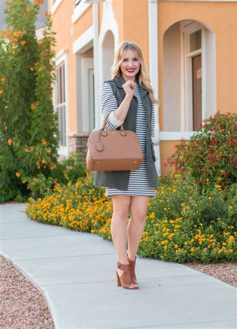 Fall Style Military Vest Jacket And Striped Sweater Dress