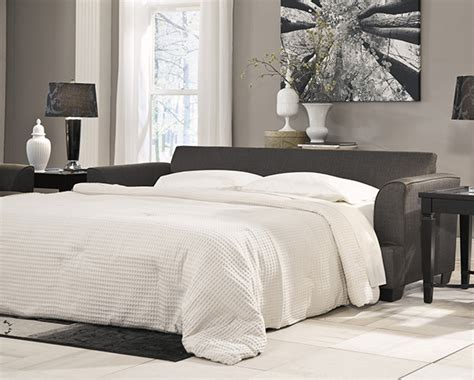 levon charcoal queen sofa sleeper with memory foam