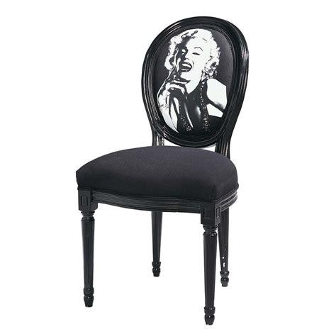 chaise m 233 daillon imprim 233 e marilyn en coton et bois noir louis maisons du monde