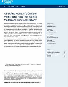 A Cover 1 Portfolio Managers Guide To Multi Factor Fixed