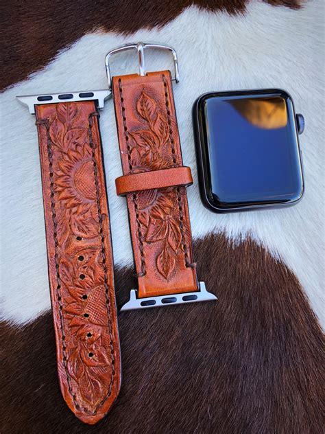 sunflower tooled leather apple  band camel