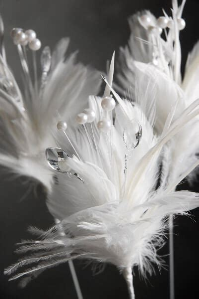 white decorative feather pearls crystals  stem