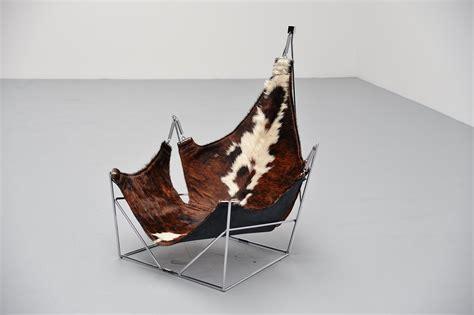 chaise peau de vache sculptural lounge chair with cowskin seat 1960s