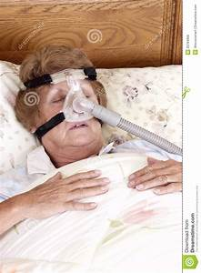 Mature Senior Woman Cpap Sleep Apnea Machine Stock Photo
