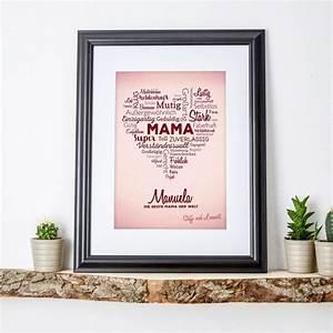 Geburtstagsgeschenk Für Mutter : liebevolles herz aus worten personalisiertes bild f r mama ~ Orissabook.com Haus und Dekorationen