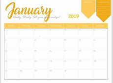 Free January 2019 Calendar Template Download February