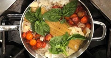 mix raw vegetables  uncooked pasta   perfect meal