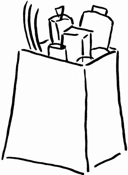 Grocery Bag Clipart Clip Groceries Cliparts Box