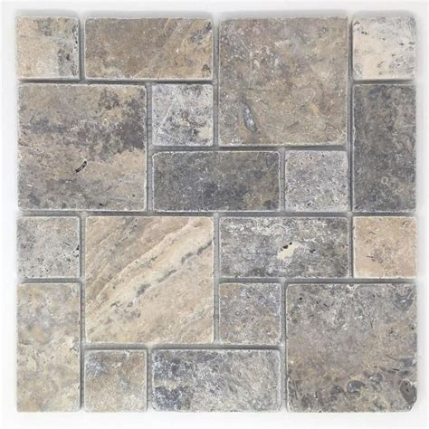 travertine mosaic tile shop avenzo silver versailles mosaic travertine floor and wall tile common 12 in x 12 in