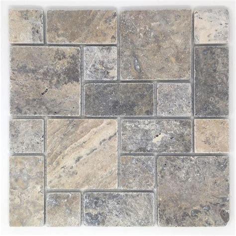 Shop Avenzo Silver Versailles Mosaic Travertine Floor And