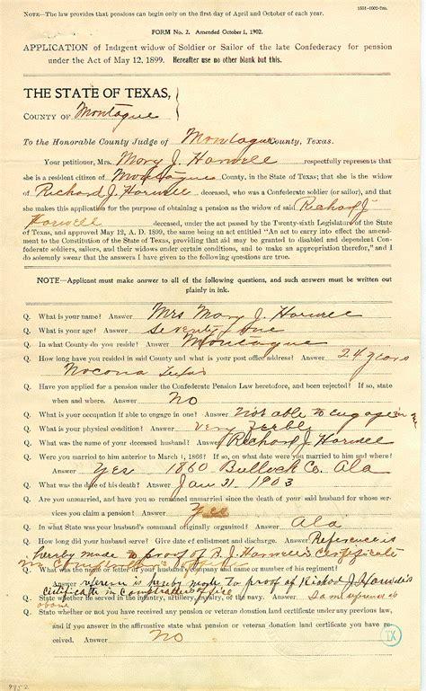 sample confederate pension application tslac