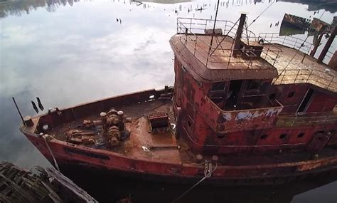 amazing drone video   forgotten arthur kill ship