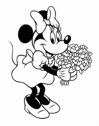 Minnie Coloriage Dessin Imprimer Colorier Mouse Fleurs