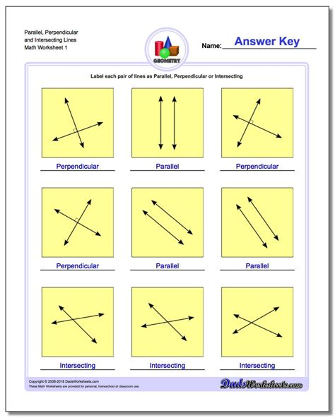 Math Worksheets Parallel And Perpendicular Lines