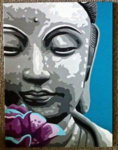 "18"" x 24"" Pop Art Painting of Buddha with Lotus Flower ..."