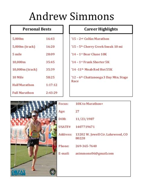 Sle Athletic Resume by Andrew Simmons Athletic Resume