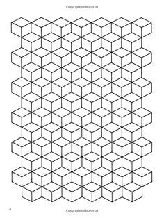 Coloring Vector Infinite Design by Patchwork Three Dimensional On Paper