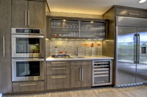industrial style faucet kitchen kitchen bar cabinet contemporary with beverage cooler