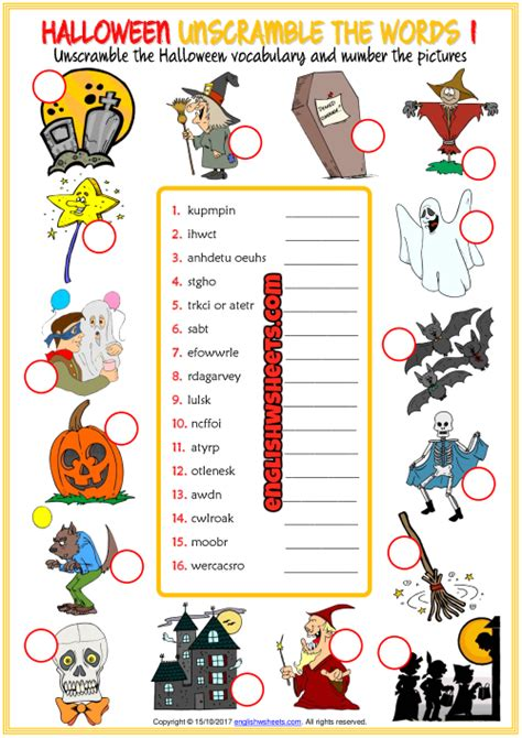 halloween unscramble  words esl worksheets  kids
