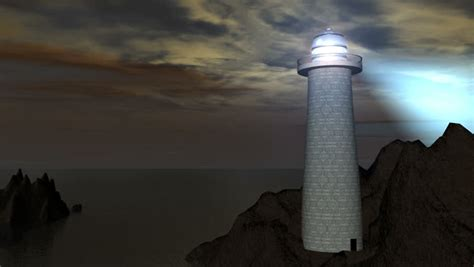 lighthouse  rock cliff  animation p stock footage