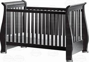 An Old Fashioned Dark Gray Baby Crib With Mattress Cartoon ...