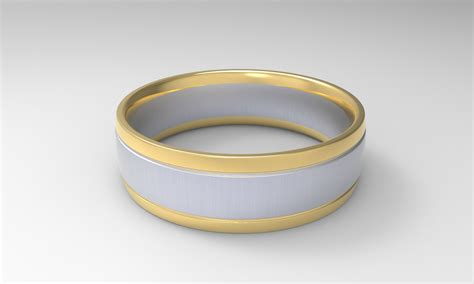 'xv' Brushed White And Yellow Gold Two Tone Mens Wedding Band