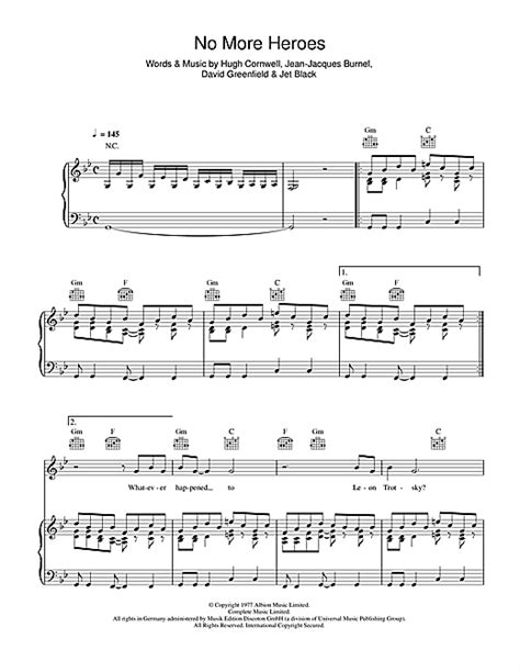 No More Heroes Sheet Music By The Stranglers (piano, Vocal