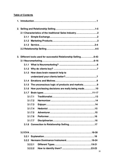 table of contents sle table of contents sle thesis 28 images table of