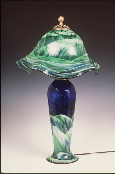 combo lamp  mark rosenbaum art glass table lamp
